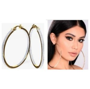 🆕️ 3 Pair Gold Large Hoop Earrings